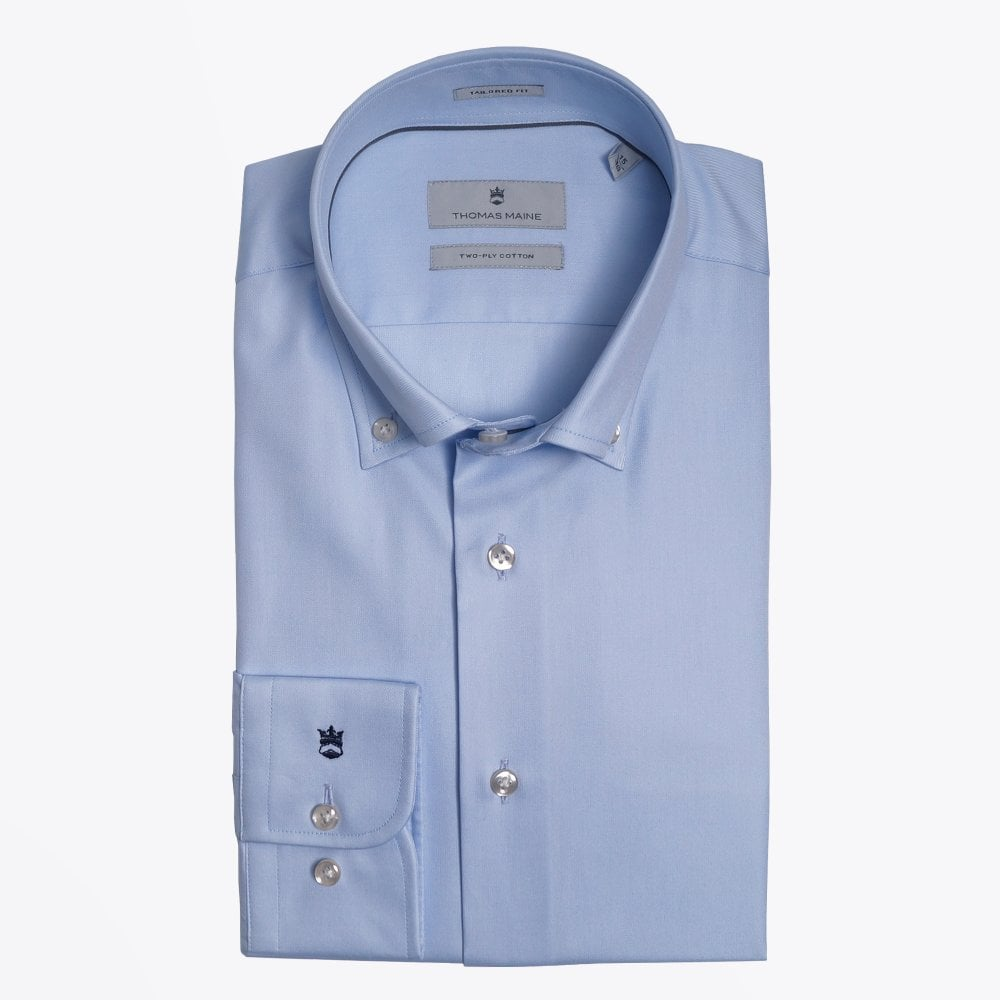 Display of Thomas Maine light blue cotton down shirt