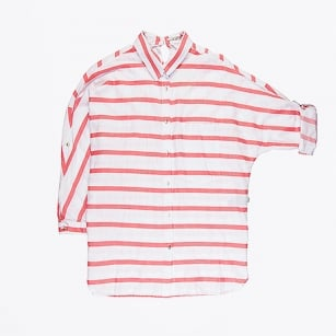 | Striped  Batwing Sleeved Blouse - Hot Coral