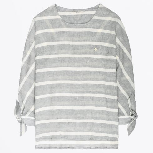 10 Feet - Striped Top With Knotted Cuffs - Ash