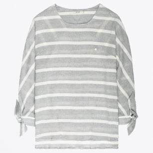 - Striped Top With Knotted Cuffs - Ash