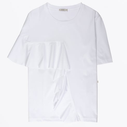10 Feet - T-Shirt With Ruffle Detail - White