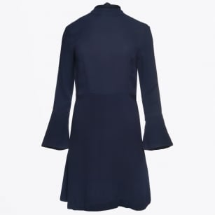| Bine Bell Sleeve High Neck Dress - Navy