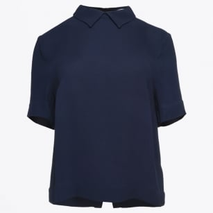 | Bine Peter Pan Collar Top - Navy