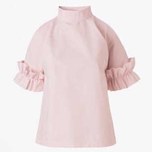 | Joka Cold Shoulder Frill Sleeve Top - Pale Pink
