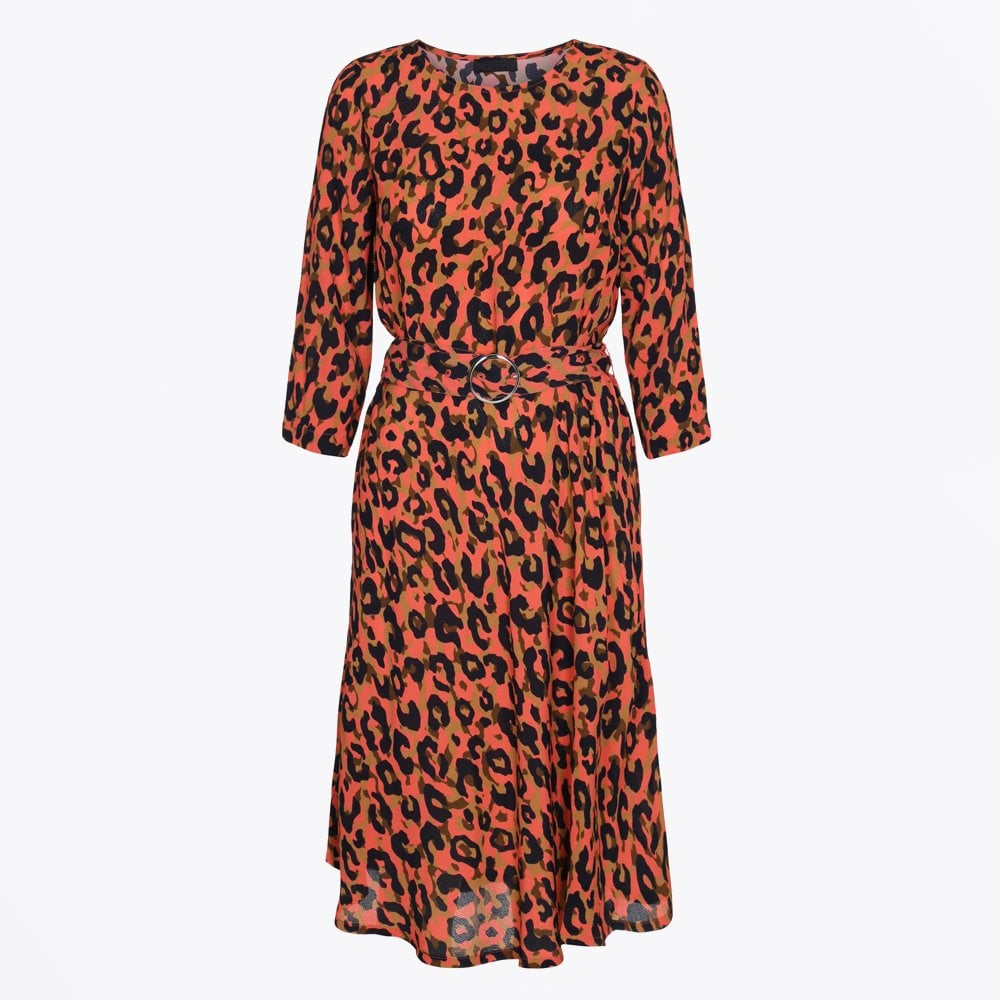 2nd Day Leopard Print Belted Dress Peach