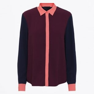 - Phyllis - Long-Sleeve Contrast Blouse - Wine