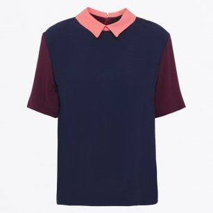 - Phyllis - Peter Pan Collar Blouse - Navy