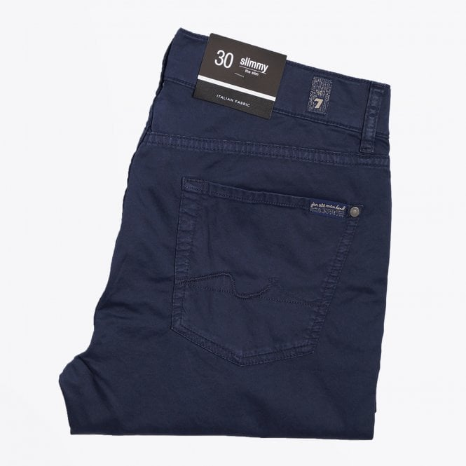 7 For All Mankind - Slimmy Lightweight Sheen Trousers - Navy