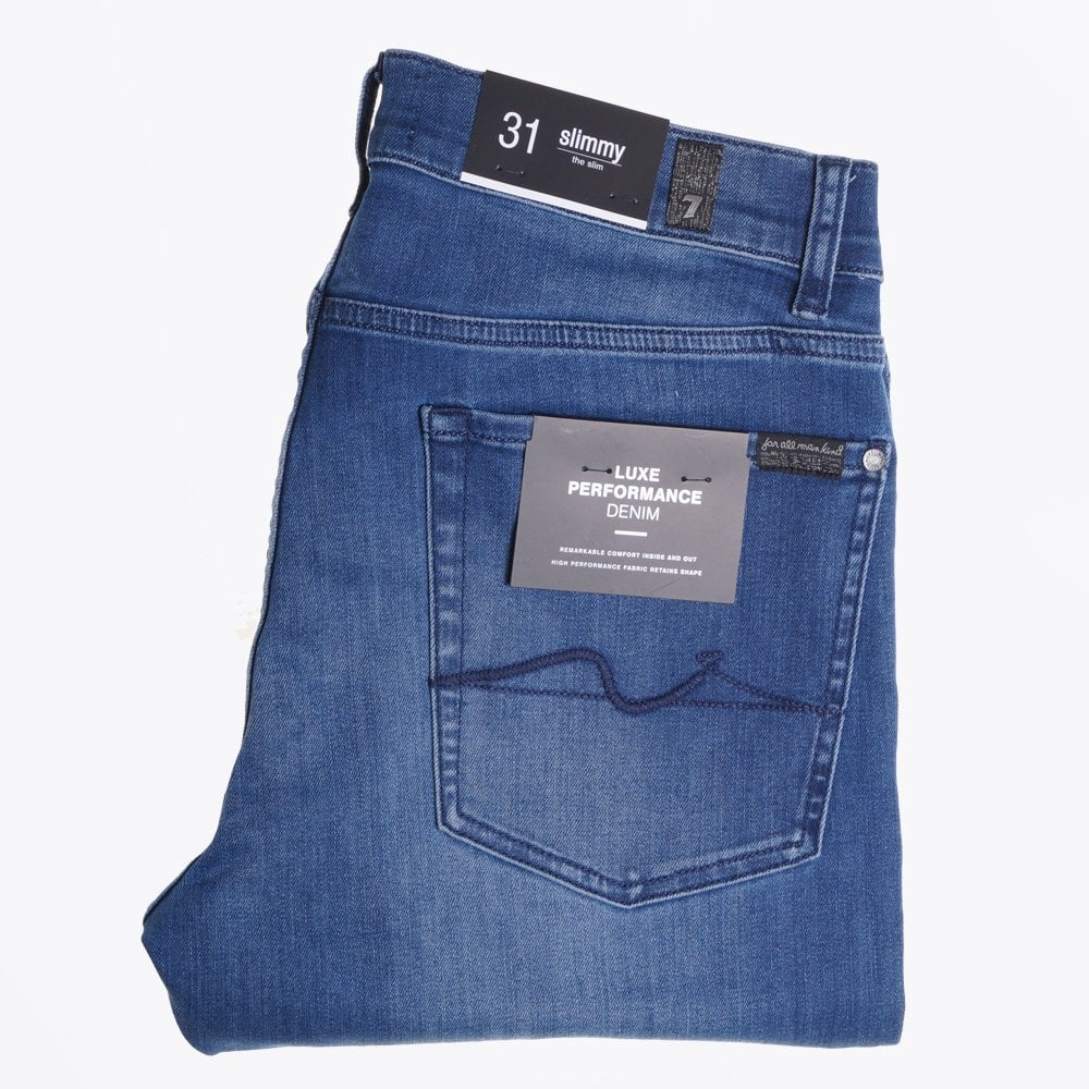 8dc51620 7 For All Mankind - Slimmy Luxe Jeans - Mid Blue - Mr & Mrs Stitch
