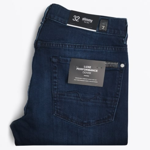 7 For All Mankind - Slimmy Luxe Performance Jeans - Washed Navy