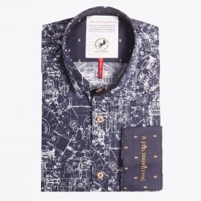 - Blueprint Printed Shirt - Navy
