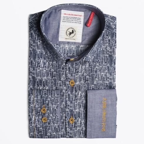 A Fish Named Fred - Building Print Shirt  - Navy
