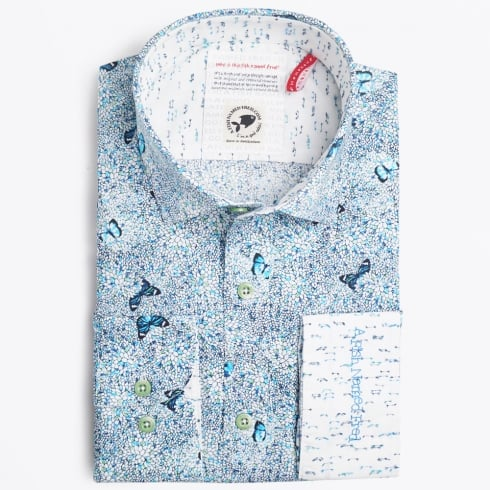 A Fish Named Fred - Butterfly Print Shirt - Aqua