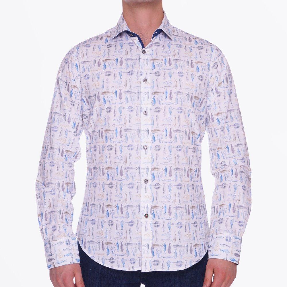 Fish print cotton shirt casual shirt for men a fish for Fish print shirt