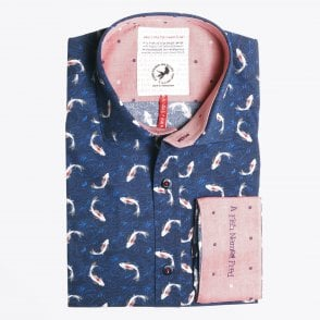 - Fish Print Shirt - Blue