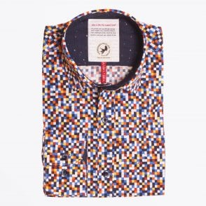 - Geometric Square Print Shirt - Multi