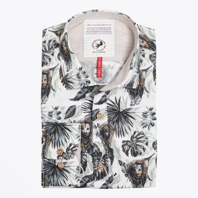 A Fish Named Fred - Jungle Lion Print Shirt - Beige