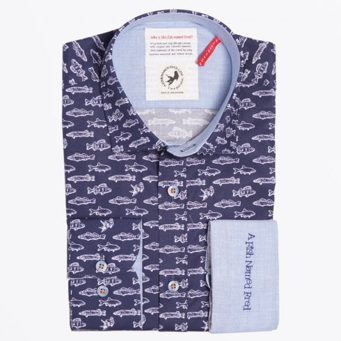 A Fish Named Fred - Navy Fish Print Shirt