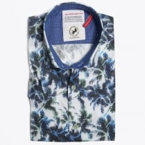 - Palm Leaf Print Short Sleeve Shirt - White