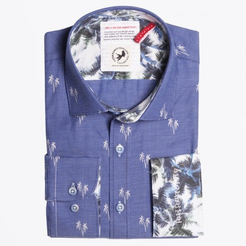 A Fish Named Fred - Palm Print Shirt - Navy Blue