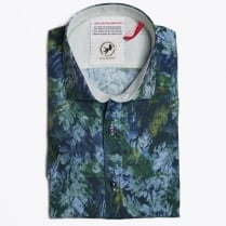 - Plant Print Short Sleeve Shirt - Green