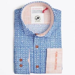 | White Dots Print Shirt - Blue