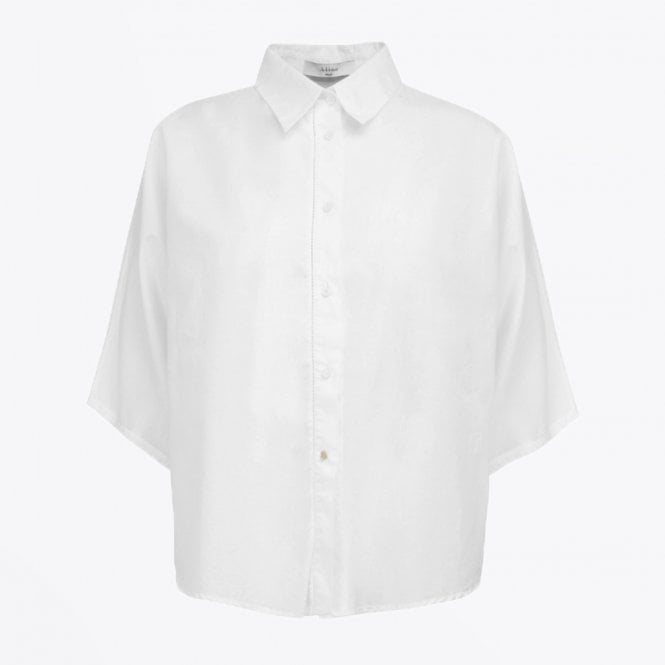 A-line - Cotton 3/4 Sleeve Shirt - White