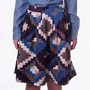 | Blue Aztec Print Skirt