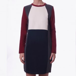 - Burgundy Colour Block Dress