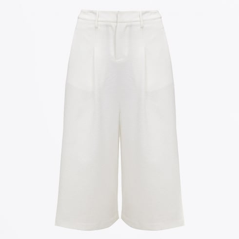 - High Waisted Cropped Trousers - White