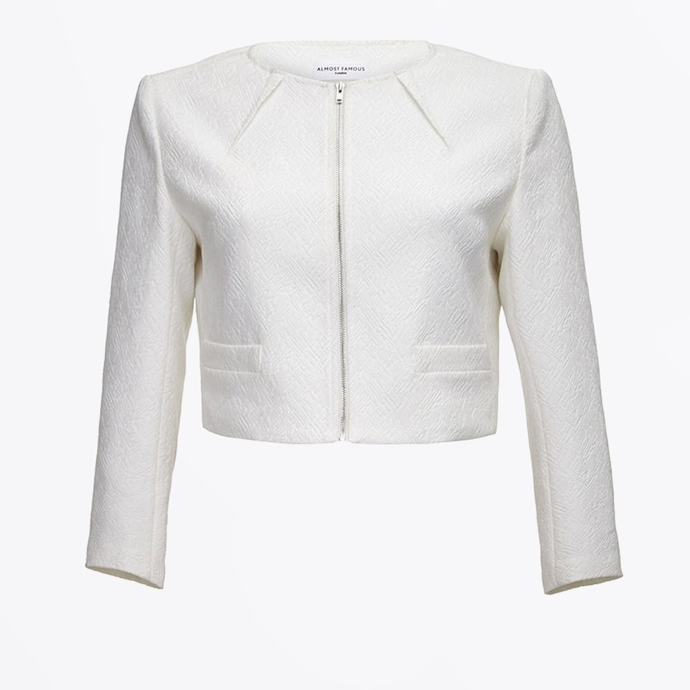 95b7bae923005 Textured Cropped Jacket - White | Ladies Cropped Jacket |Almost Famous