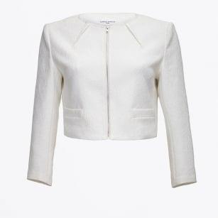 | Textured Cropped Jacket - White