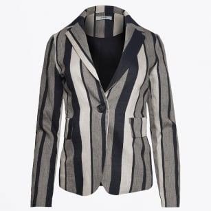 | Broad Stripe Linen Jacket - Black/Cream