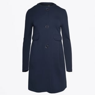 | Collarless Long Jacket With Pockets - Navy