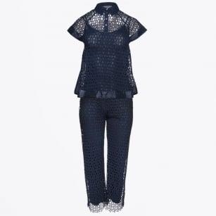   Crochet A-Line Top & Trouser Suit - Navy