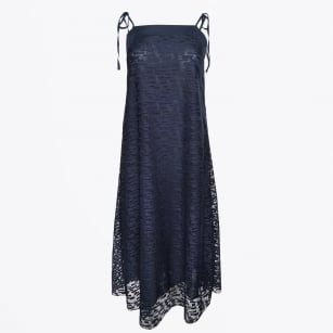- Digital Lace Midi Dress - Navy