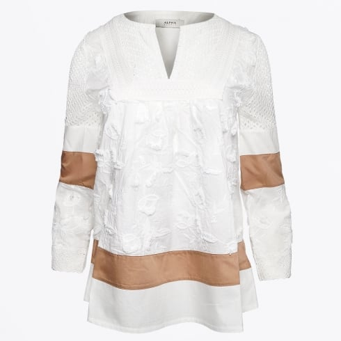 Alpha Studio - Embroidered Top - Latte
