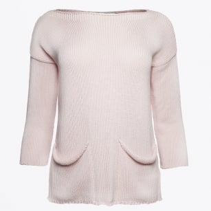   Pocket Front Split Back Knit - Blush