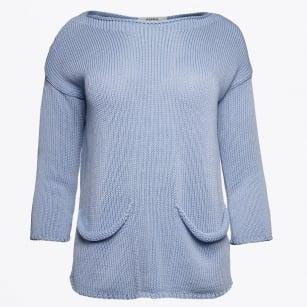   Pocket Front With Back Split Knit - Blue