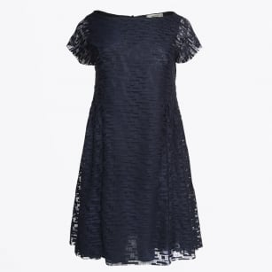 - Short Sleeve Digital Lace Dress - Navy