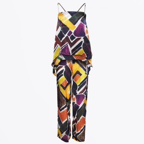 Alpha Studio - Silk Wide Leg Trouser & Vest - Multi