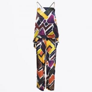   Silk Wide Leg Trouser & Vest - Multi