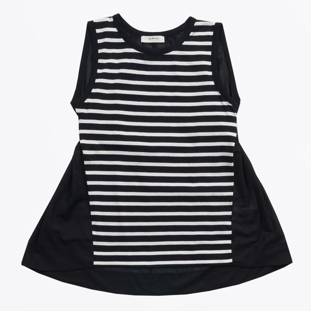 Alpha studio sleeveless striped chiffon back top black white