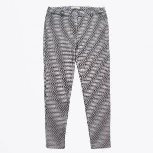   Slim Printed Trousers - Navy