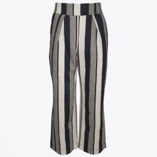   Stripe Linen Trousers - Black/Cream