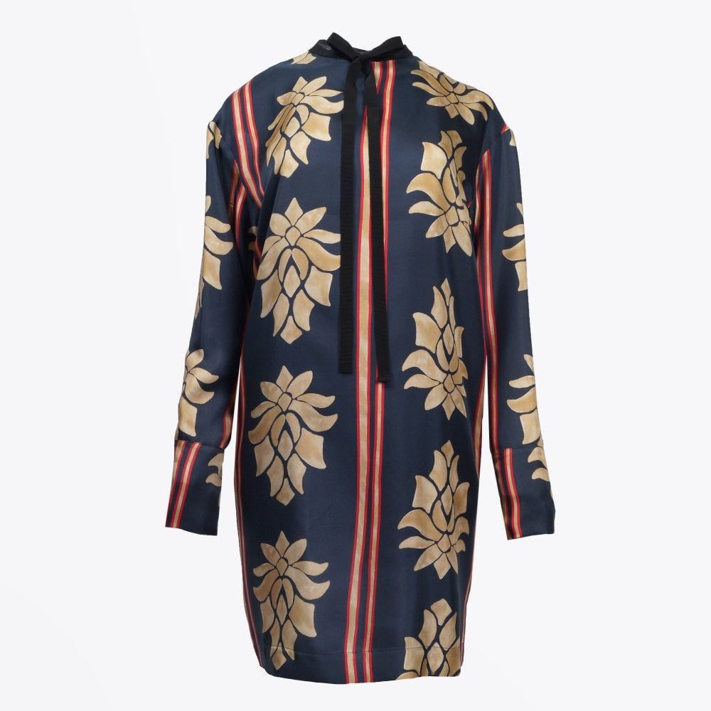 34ae6aac4c2 Alysi - Silk Printed Shift Dress - Navy Multi - Mr   Mrs Stitch
