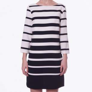 - Black & White Stripe Shift Dress