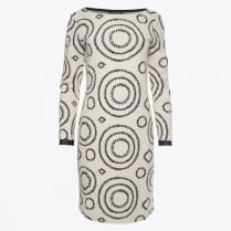- Circle Print Bell Sleeve Dress - Cream