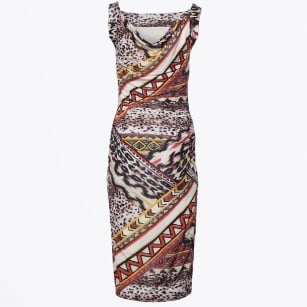 | Cowl Back Ruched Pattern Dress - Multi