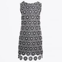 - Crochet Lace Dress - Black/White